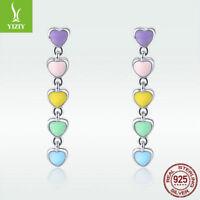 925 Sterling Silver Ear Stud Earrings Dangle Rainbow Heart Drop Enamel Jewelry