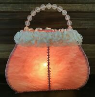 Victorian Style Pink Purse Table Lamp Home Decor Night Light Beaded Handle
