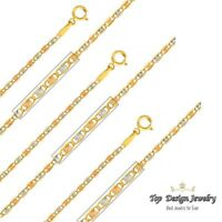 """14KT Solid Yellow Italian Gold Valentino Chain Necklace 1.5mm 16"""", 18"""", 20"""", 22"""""""
