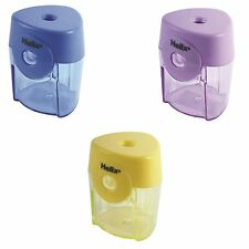 3x Helix Tri-Face Pencil Sharpener Barrel Canister Single Hole Stationery School