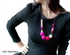 Wooden bead necklace Pink felt balls, Fashionable Women Girl Chunky Statement