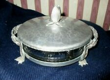 *Vintage Hammered Aluminum Covered Divided Dish Condiments Server*