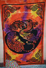 Mandala tapestry Dragon Tiger Yin Yang Wall Hanging Dorm Decor Art Cotton Orange