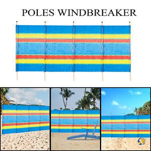 4/5/6/8/10 X-LARGE POLE WINDBREAK BEACH HOLIDAY CAMPING SUN SHELTER WINDBREAKER