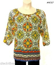 CHARTER CLUB $64 NEW Sexy Sheer 3/4 Sleeves Printed Tunic Blouse Top Plus 0X QCO