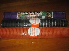 "Lot Mesh Ribbon 3 Rolls Deco Decorative Wrap Mesh 21"" x 10yd Orange Black Purple"