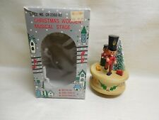 Xmas Wooden Musical Stage 2 Toy Soldiers Bottle Brush Tree Plays Silent Night