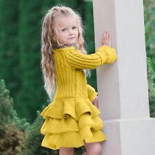 Kids Girls Knitted Sweater Winter Pullovers Crochet Mini Tutu Dress Tops Clothes