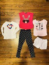 Girls Clothing Lot Size 5 Disney, Sushi Tees, Legging, Bunny + Heart Tops, Short