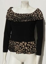 Joseph Ribkoff Canada Paillettes Noires Maille Extensible Pull-Over L / CHEMISE