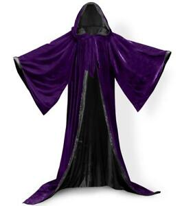Velvet Wizard Robe with Satin Lined Hood and Sleeves