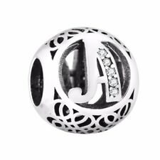 Letter A S925 Silver charm round bead For European bracelet charms chain bangle