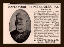 1906 AD MAPLEWOOD SCHOOL CONCORDVILLE PA YALE EDUCATION  SHORTLIDGE