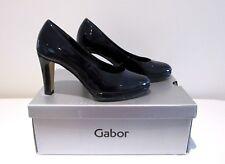 £89 women uk 4 37 Eur shoes Gabor Patent Block Heel Court COMFORT Navy high