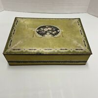 Vintage National Biscuit Company Uneeda Metal Tin Box with flower design