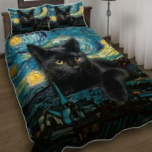 Black Cat Starry Night  Bedding Set  5 Sizes
