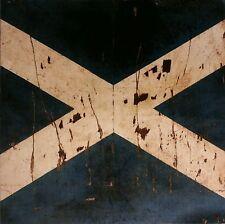 VINTAGE SCOTTISH FLAG VELVET CUSHION PANEL DISTRESSED SALTIRE SCOTLAND ST ANDREW