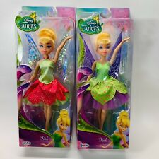 2 Disney Fairies Classic Tink With Dress Doll, Green/Deep Pink &Green/Purple NEW