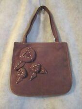 "PRADA Small Handbag Suede Milk Chocolate Leather Flowers 8"" x 7"""