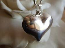 Bespoke Puffy Heart Necklace Pendant, Casually Cool Silver Heart Love Necklace,
