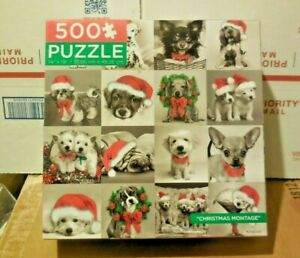 2013 KEITH KIMBERLIN 500 PIECE PUZZLE CHRISTMAS MONTAGE PAWS DOGS & PUPPYS