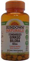 Sundown Naturals Ginkgo Biloba Supplement 60 MG Tablets 200 Count
