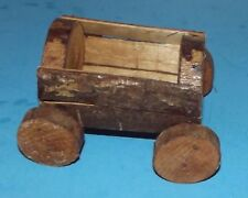 Rustic Log Wagon Hand Crafted Wooden Logs Bart Homemade Vintage 5.5x4.5 Folkart