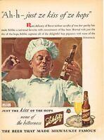 Schlitz Beer German Chef Theme ©1944  10x14 Paper Ad Tavern Trove