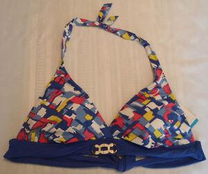 PERRY ELLIS 36D DD Swim Halter Bra Top Swimwear NWT