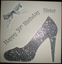 HANDMADE PERSONALISED SILVER DESIGNER SHOE BIRTHDAY CARD 18TH 21ST 30,40,50,60