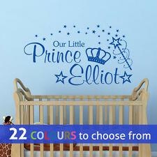 PERSONALISED our little PRINCE custom boys name wall art sticker nursery bedroom