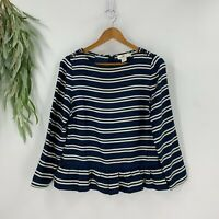 Vineyard Vines Womens Striped Peplum Silk Top Size 8 M Blue White Blouse Shirt
