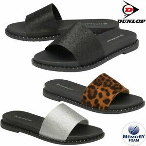 Ladies Dunlop Memory Foam Walking Flip Flops Sliders Shower Mules Sandals Shoes