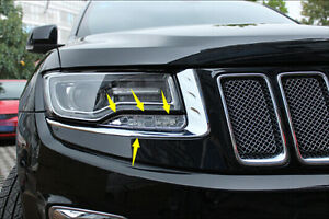 8pcs Front Head Light + Lamp Eyelid Cover Trim for JEEP Grand Cherokee 2014 2015