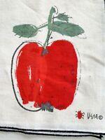 Vintage Mid Century Vera Neumann Linen Napkins Apple Forbidden Fruit Lot 2