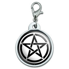 Pentagram - Wicca Witch Chrome Plated Metal Small Pet Id Dog Cat Tag