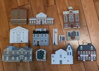FALINE THE CAT'S MEOW VILLAGE LOT OF FOUR ACCESSORIES AND SEVEN BUILDINGS