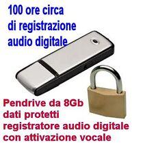 REGISTRATORE ATTIVAZIONE VOCALE DIGITALE AUDIO BLOCCO LETTURA DATI PENDRIVE 8GB