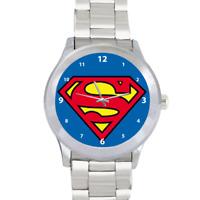 Superman Superhero Krypton Quartz  Silver Stainless Steel Mens Wrist Watch