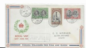 Royal Visit 1939 Issue Airmail First Day Cover Canada