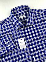 Peter Millar Crown Ease Stretch Plaid Sport Shirt Blue Mens Size XL $129