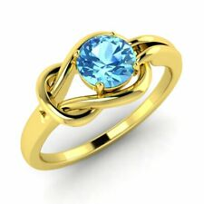 Certified 0.70 Ct Natural Blue Topaz Solitaire Engagement Ring 14k Yellow Gold