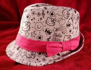 Hello Kitty Fedora Style Hat - Gray Black Pink Bow - Sanrio Cat