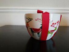 Crate and Barrel Christmas Jingle Nesting Bowls Set of 3 Ceramic NWT