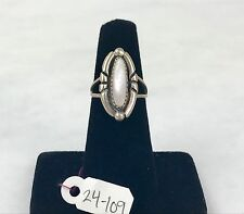 Sterling Silver Vintage style Mother of Pearl Size 5 Applique Ring 24-109