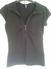 Short Sleeve V Neck Fitted Cotton Blend Women's Tops & Shirts