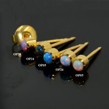 Sterile 24K Gold Plated Surgical Steel Birthstone Fire Opal Earring Stud