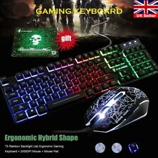 T6 Rainbow Backlight Illuminated Multimedia Wired Gaming Keyboard and Mouse Sets
