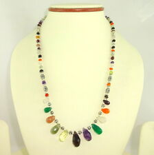 Necklace natural carnelian onyx moonstone amethyst multi gemstone jewelry