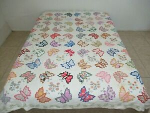 Vintage Hand Sewn 80 Floral Feed Sack Applique & Embroidery BUTTERFLY Quilt FULL